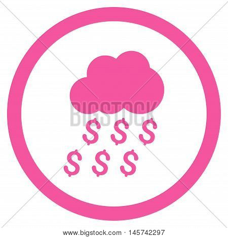 Money Rain rounded icon. Vector illustration style is flat iconic symbol, pink color, white background.