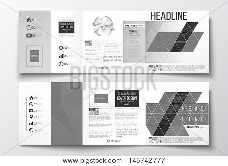 Vector set of tri-fold brochures, square design templates. Microchip background, electrical circuits, construction with connected lines, scientific design pattern, science design vector