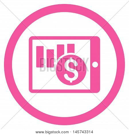 Sales Chart on Pda rounded icon. Vector illustration style is flat iconic symbol, pink color, white background.