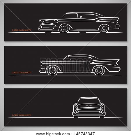 Set of vintage classic car silhouettes in old american style. Front, side and three quarter view. Hand drawn white outlines, contours isolated on black background