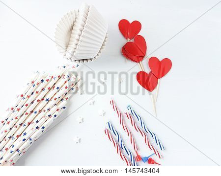 party concept, party items on a white background