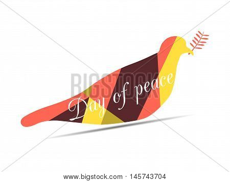 Polygon Dove With An Olive Branch. International Day Of Peace. Dove On A White Background. Vector Il