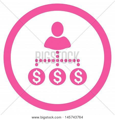 User Payments rounded icon. Vector illustration style is flat iconic symbol, pink color, white background.