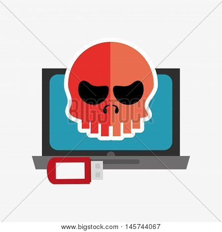 laptop computer with skull virus representation and usb drive system security design