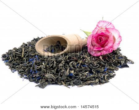 Aromatic Green Tea, Wooden Shovel And Pink Rose On White