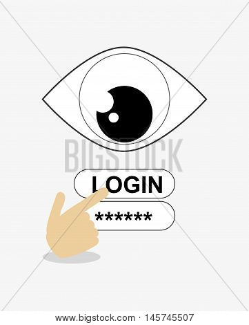 surveillance eye with login and password icons and hand pointer system security design
