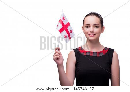 Woman with georgian flag isolated on white