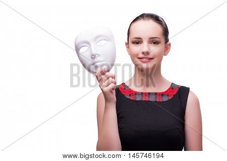 Young woman with mask isolated on white