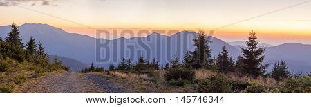 Panorama of sunset in Carpathian mountains with a gravel road in front