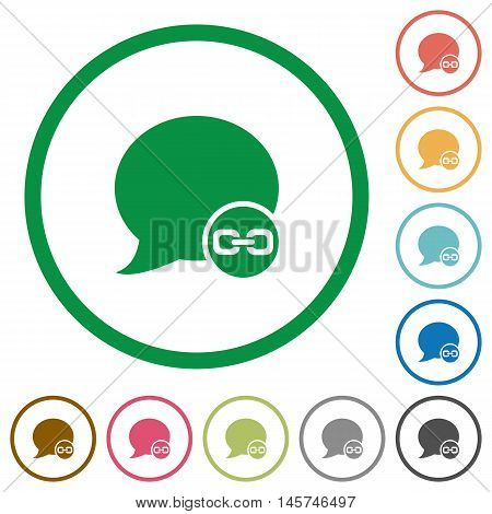 Set of blog comment attachment color round outlined flat icons on white background