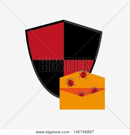 shield with envelope and bugs virus representation system security design vector illustration