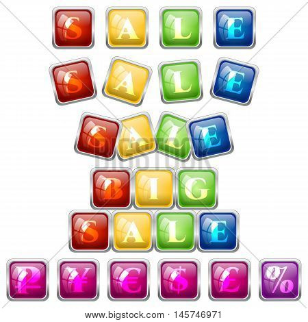 Set of sale stickers and some currency symbols inside colorful square tile blocks with glass effect isolated on white. Vector illustration