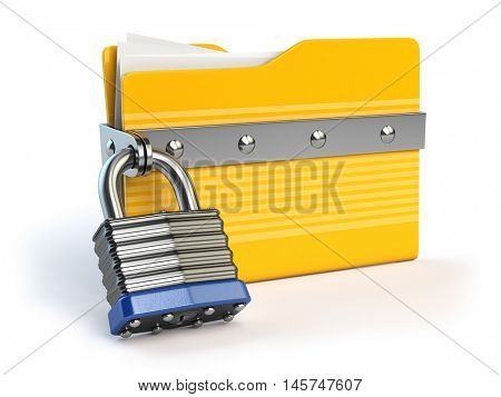 Yellow folder and lock. Data and privacy security concept. Information protection. 3d illustration