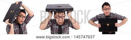 Young employee with briefcase isolated on white