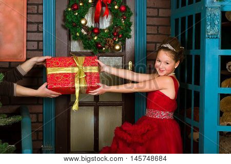 Little Winter Princess Accepts A Christmas Gift
