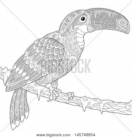 Stylized toucan isolated on white background. Freehand sketch for adult anti stress coloring book page with doodle and zentangle elements.