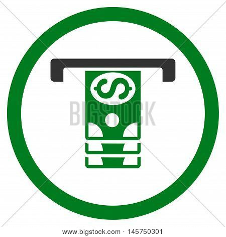 Banknotes Withdraw rounded icon. Vector illustration style is flat iconic bicolor symbol, green and gray colors, white background.