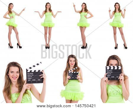 Woman holding movie clapperboard isolated on white
