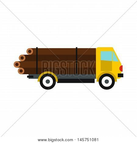 Logging truck with logs icon in flat style isolated on white background. Felling symbol vector illustration