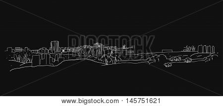The illustration of hand drawn outlined landscape on a dark grey background. Vector image.