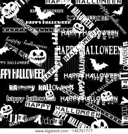 Halloween background with bats, pumpkins and words Happy Halloween. vector illustration