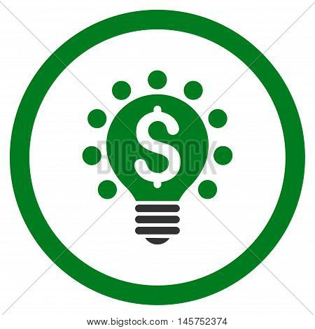 Business Patent Bulb rounded icon. Vector illustration style is flat iconic bicolor symbol, green and gray colors, white background.