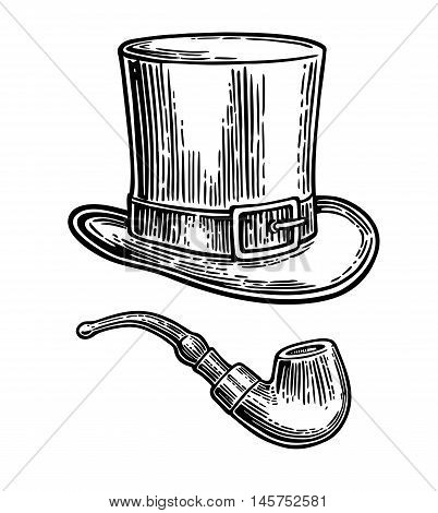 Top gentleman hat and smoking pipe. Vector vintage engraved black illustration isolated on white background.