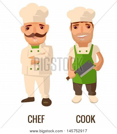 Cook man with knife. Proud chef cook man with a mustache crossed his arms. Vector flat illustration isolated on white background.