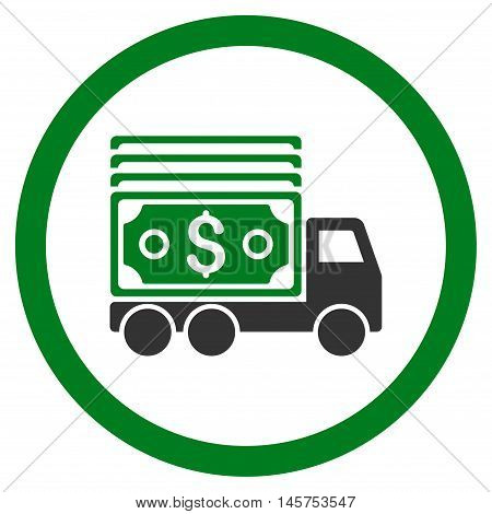 Cash Lorry rounded icon. Vector illustration style is flat iconic bicolor symbol, green and gray colors, white background.