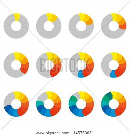 Preloaders icon set. Loading and buffering symbols. Step by step infographics. Colorful pie chart, diagram and graph with steps. Vector illustration.