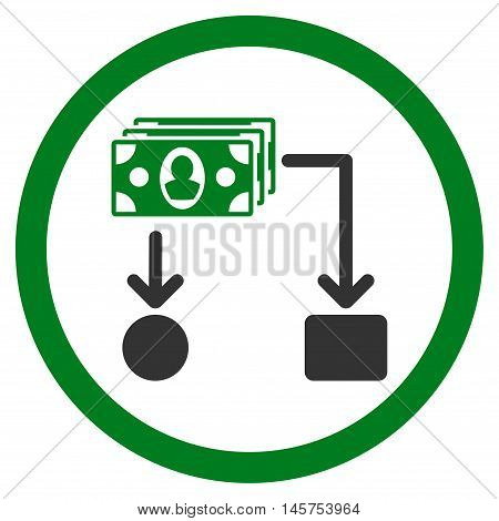 Cashflow rounded icon. Vector illustration style is flat iconic bicolor symbol, green and gray colors, white background.