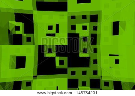 Abstract 3D rendered background illustration of abstract shapes randomly scattered.