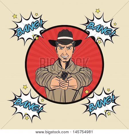 Cowboy bubble man gun revolver pop art comic cartoon icon. Colorful and striped design. Vector illustration