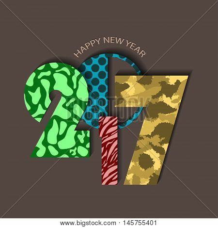 Textured Urban New Year 2017 Concept On Brown Background. Vector Illustration