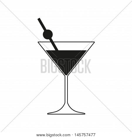 Martini cocktail icon. Martini glass with drinking straw. Vector illustration.
