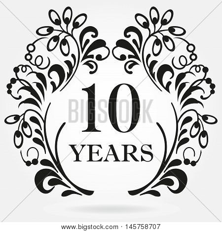 10 years anniversary icon in ornate frame with floral elements. Template for celebration and congratulation design. 10th anniversary label. Vector illustration.