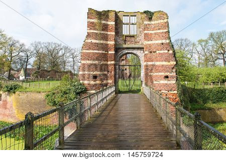 Old Gate of a medieval castle ruins.