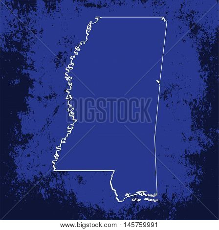 3D Mississippi (USA) Grunge Blueprint map with shadow
