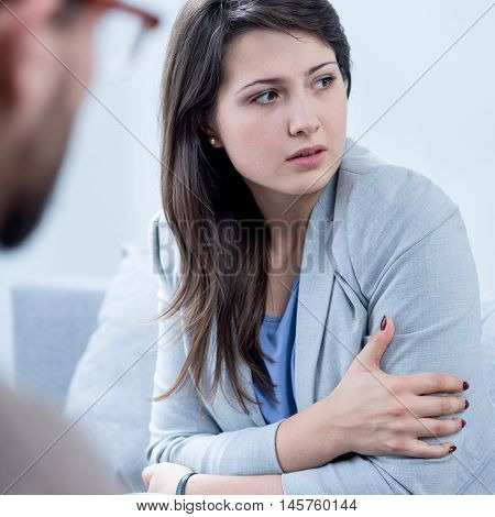 Scared Woman Receiving Psychotherapy