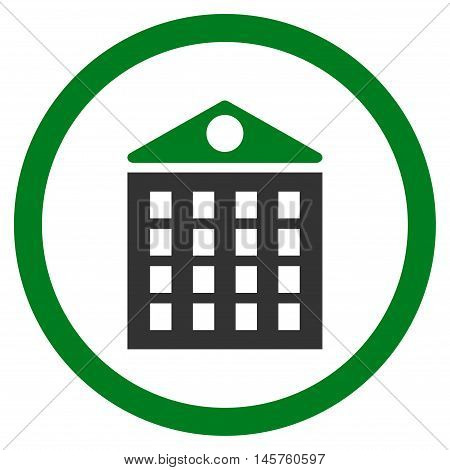 Multi-Storey House rounded icon. Vector illustration style is flat iconic bicolor symbol, green and gray colors, white background.