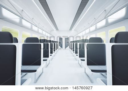 Empty passenger train interior with black seats. 3D Rendering