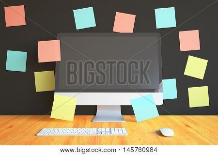 Closeup of creative designer workplace with blank pc monitor mouse keyboard and colorful stickers on dark wall background. Mock up 3D Rendering
