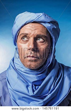 Berber Man Wearing Blue Turban. Studio Shot.
