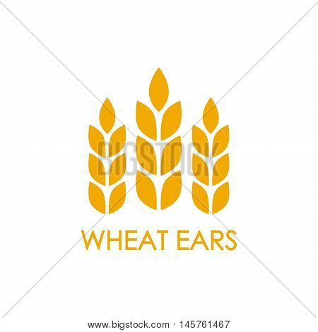 Wheat ears or rice icon. Crop, barley or rye symbol isolated on white background. Design element for beer label or bread packaging. Vector illustration.