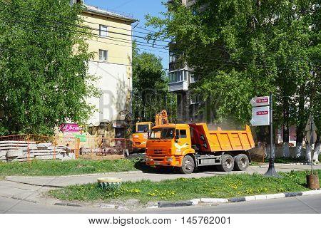 Nizhny Novgorod, Russia. - May 11.2016. Repair Of The Pipeline Street Sovnarkomovskaya