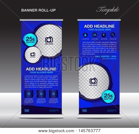 Blue Roll up banner template vector, roll up stand, banner design, flyer, advertisement, polygon background, corporate roll up template