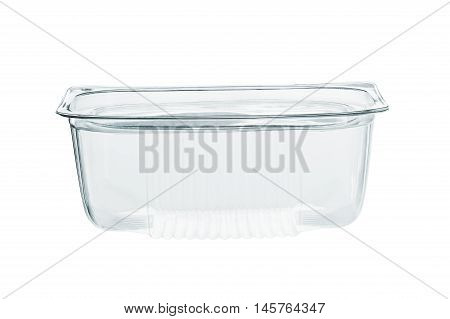 Empty transparent plastic storage box of food package isolated on white background with clipping path