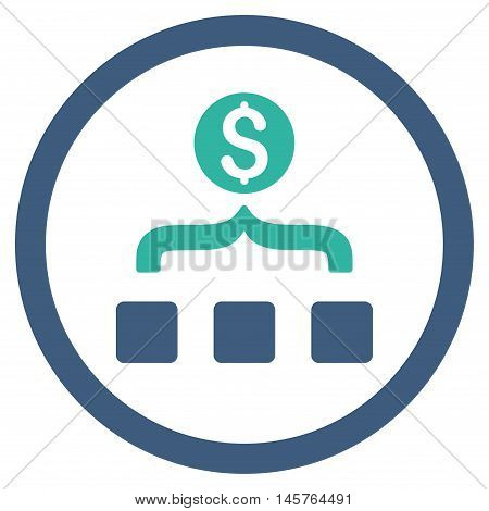Money Aggregator rounded icon. Vector illustration style is flat iconic bicolor symbol, cobalt and cyan colors, white background.