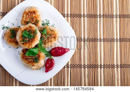 Fried Meatballs Of Minced Chicken With Red Pepper