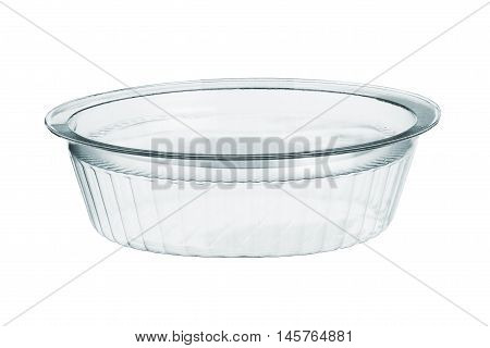 Empty round transparent plastic storage box of food package on white background with clipping path